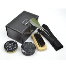 Shine Polish Cleaning Brushes Set Kit Brown PU Leather Case Shoe Care Kit Convenient and Useful Neutral Shoe