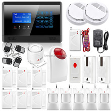 Big Combination LCD Screen Wireless Control GSM Home Security Alarm System with Shock Door Sensor Smoke Detector& Wireless Siren