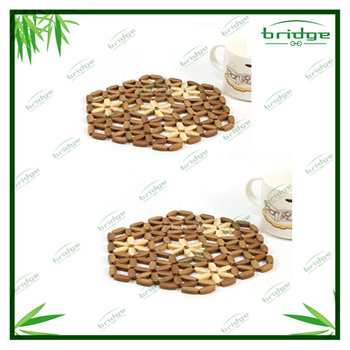 high quality hexagon handwork bamboo table mats and coasters