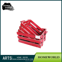 Russia modern style red painted slatted wooden fruit crate box with solid handles