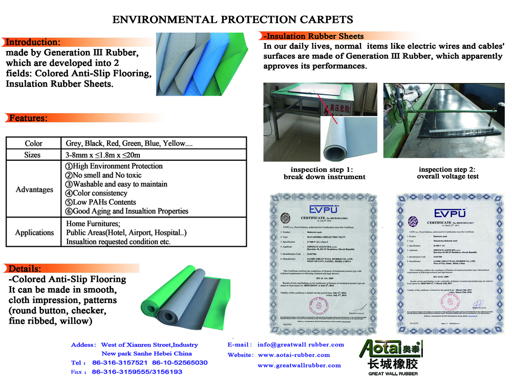 New environmental protection TPE rubber floor brightly colored Specification optional