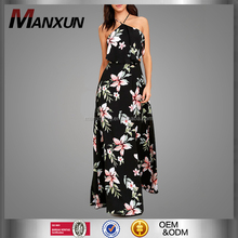 2017 Summer New Style Sexy Printed Maxi Dress Sleeveless Backless Two-piece Party Dress Lace-up Long Dress