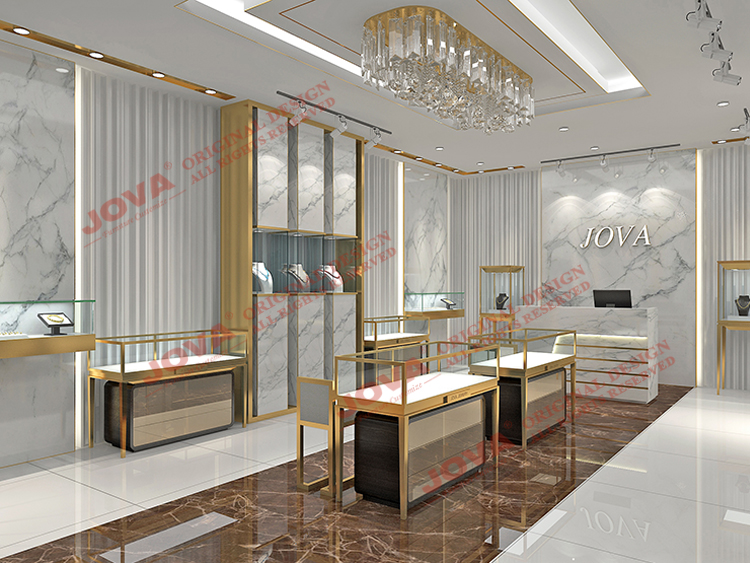 Luxurious modern jewellery shop furniture design , retail free customized jewellery shop counter design, metal jewelry showcases