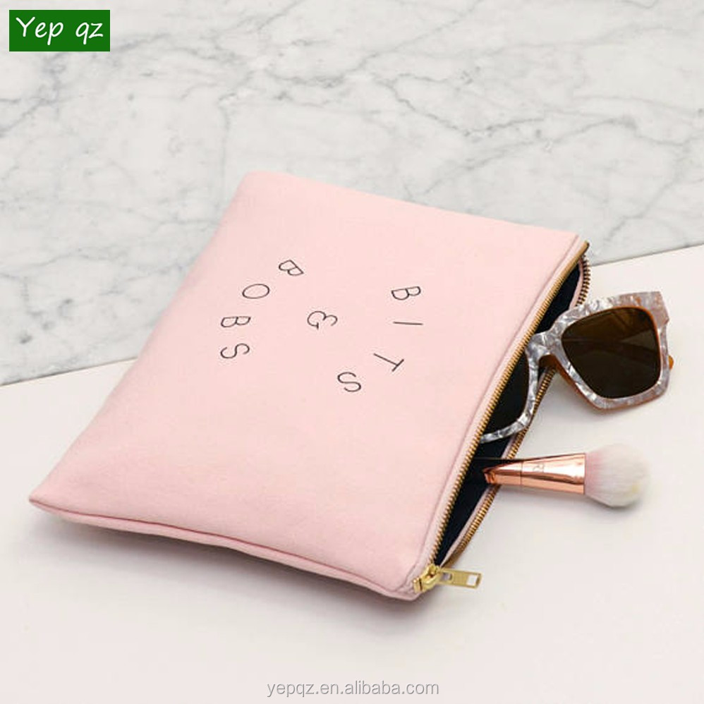 High quality 2018 big size customized washable recycled pink color zipper make up brushes bag