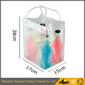 Durable Plastic PVC Water Resistant Chiller Cooler Wine Bottle Bag With Tube Handle