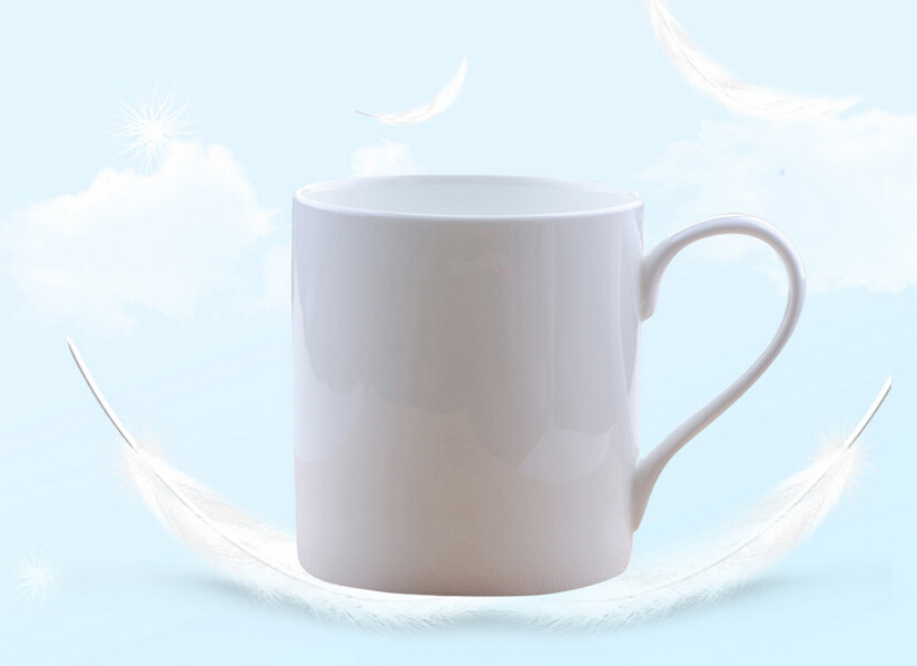 Haonai white 500ml coffee mug ceramic milk mug milk tumbler with handle
