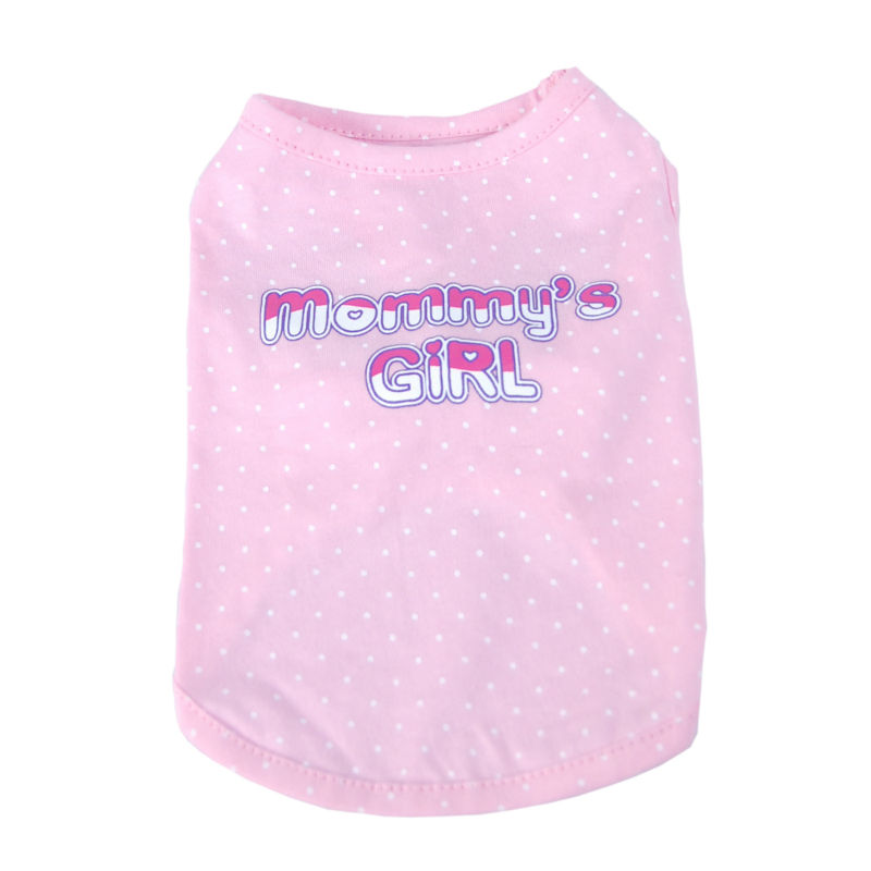 Dog Pink Polka dots Mommy's girl T-shirts Cute Pet Clothes