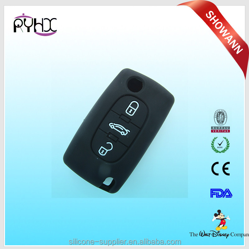 Peugeot auto 3 button car key remote flip control case cover blank wholesale with logo print