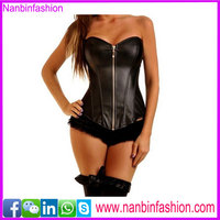 Wholesale overbust black leather corsest bodysuit