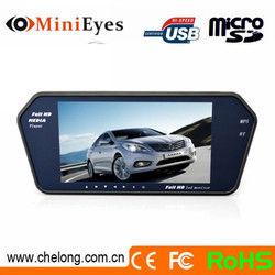 Chelong Brand 7 inch touchscreen1080p full hd LED MP5 bluetooth rearview mirror monitor