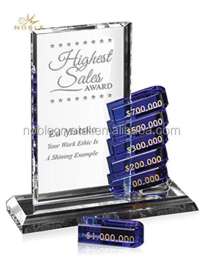 New Design Custom Crystal Glass Business Award Plaque