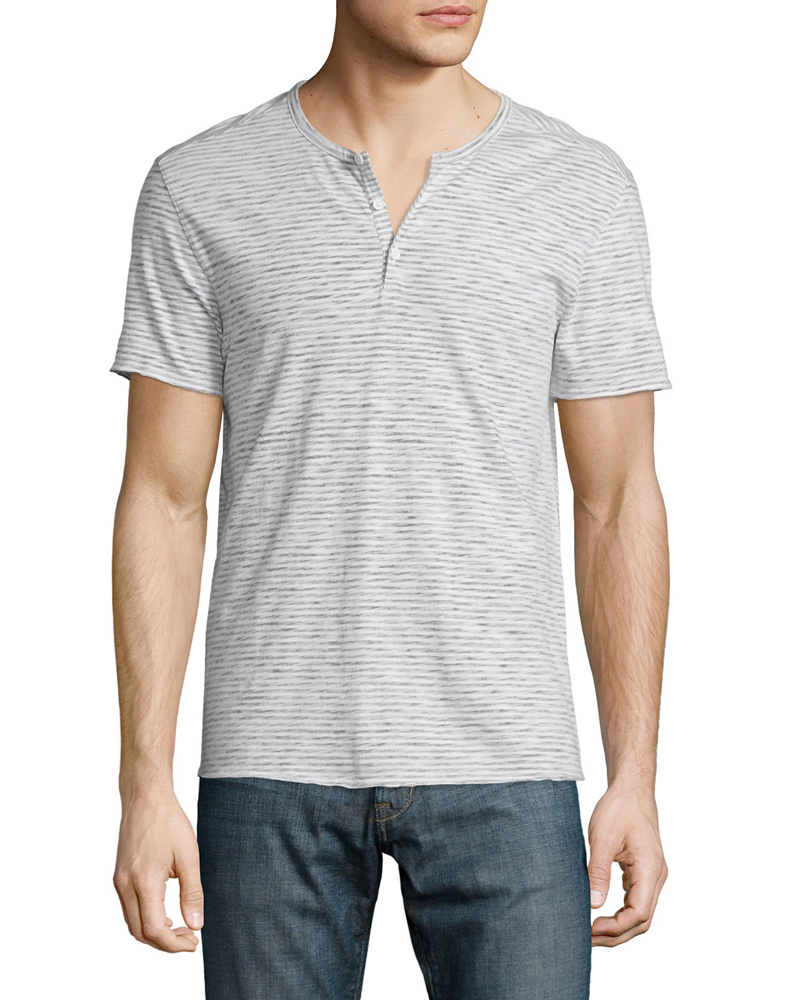 Bulk Custom Design Striped Mens 100% Cotton Short Sleeve Henley T Shirts Wholesale