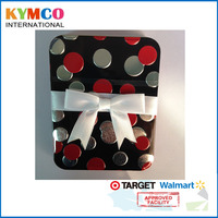 Wholesale high quality multi dots decorative with ribbon gift tin packaging box for candy / card / storage