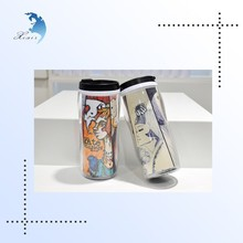 Factory price logo printed PVC plastic travel mug