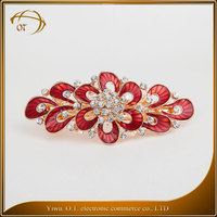 Latest design printing hair accessory fashion flower hair clips