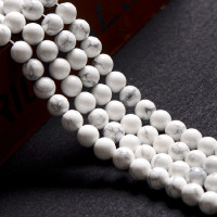 "White Turquoise Round Beads, White Howlite Beads,Gemstone Round Beads 16"" strand long"