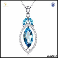 Blue Crystal Silver Necklace Wholesale 925 Sterling Silver Jewelry