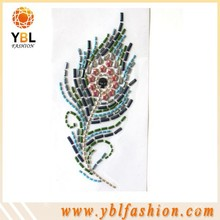 china factory grade one 2.5*7 nilhead feather design rhinestone