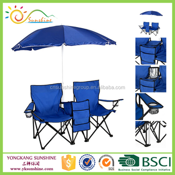 Double Folding Chair With Cooler 2 Person Umbrella And Table