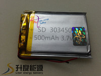 SD hot sale cheap price 303450 3.7v battery 3.7v 500mah li-polymer battery rechargeable battery SD303450