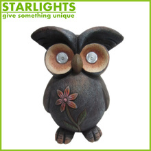 Hot sale polyresin sensor owl with eyes light