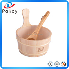 Natural White Pine Wooden Sauna Bucket and spoon , Dry Sauna Accessories