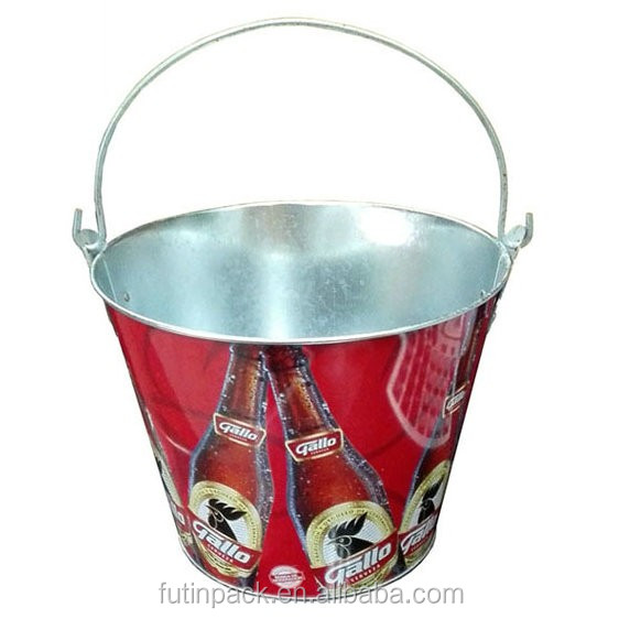 food grade conical shape ice tin bucket with handle