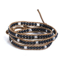 Resin Multilayer Bracelets Black & Light Coffee 62cm long