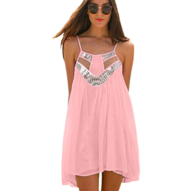 2015 Summer New Women Vestidos Off The Shoulder Spaghetti Strap Sexy Dresses Sequined Patchwork Hollow Out Chiffon Dress