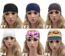 wholesale wide polyester spandex print yoga sports headbands custom sublimation printing fitness headbands AY004
