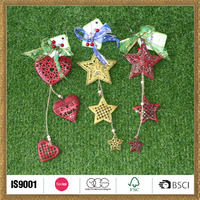 hand work christmas wall hanging craft in metal star heart style