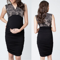 Korean style maternity nursing clothes pregnant women lace maternity evening party dresses