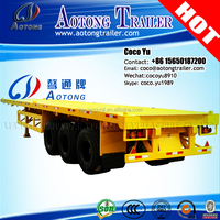 Lowest price 40GP / 40HQ / 2*20GP container 3 axles straight beam platform deck flatbed semi-trailer for sale