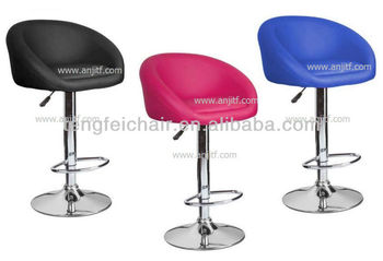 Colorful PU bar stool with backrest and chroming base/ height adjustable and 360 degree swivel/multicolor