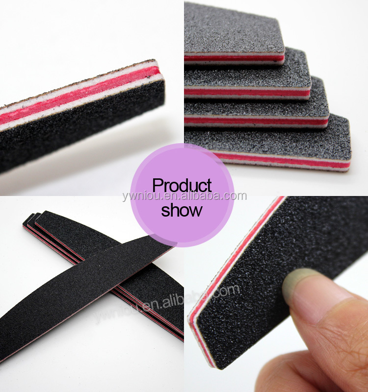 TSZS brand Nail Art Sanding Files Buffing Black Boat Manicure Salon 100and180 grit nail Tool