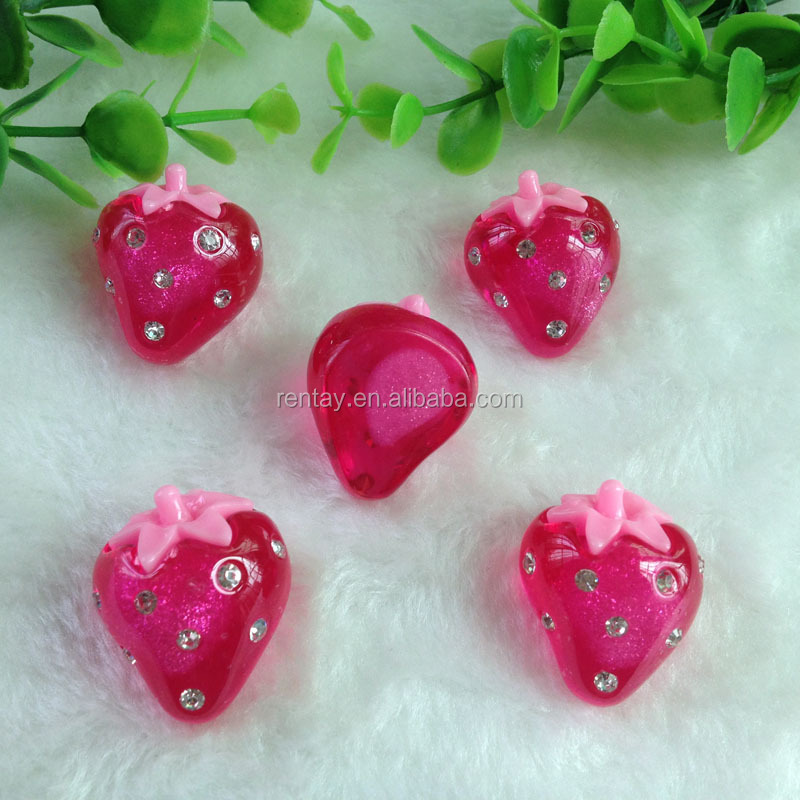 New Design Rose 31*25mm Strawberry Flatback Resin 3D Cabochons For Decoration