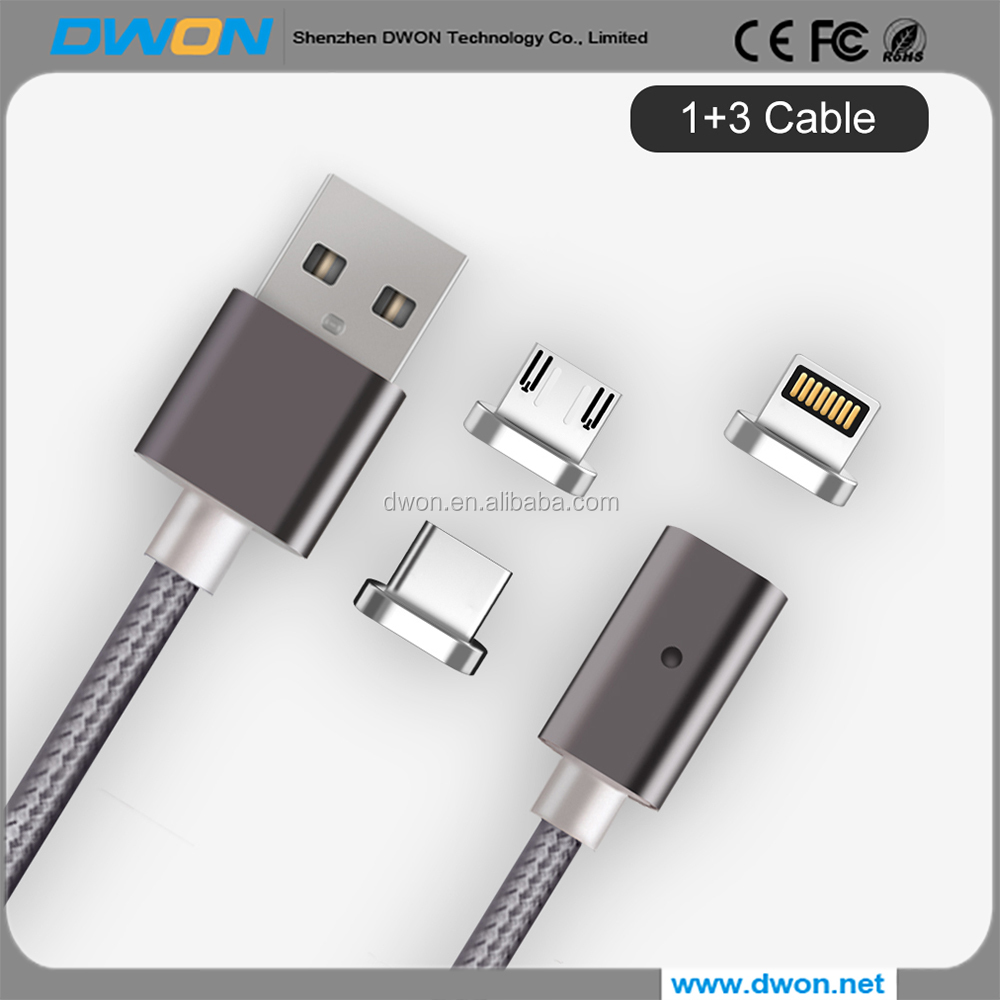 High quality 3 in 1 Magnet Type C Cables magnetic Mobile Phone charging cable braided nylon android Charger Micro USB Data nylon