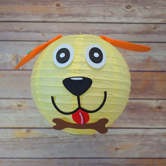 Chinese paper lantern ,animal face DIY kit - dog decorative lantern