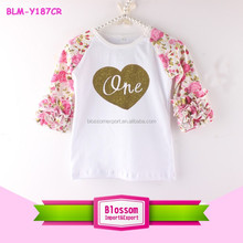 Birthday Raglan Floral T Shirt Baseball Tee Shirts Customized Print Icing Ruffle Raglan Valentine Clothing