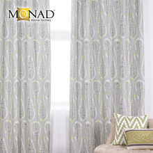 Monad non flammable eco-friendly printed pale sage abstract leaf modern blackout curtains for hotels room
