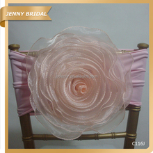 C116 Best type organza pink decorative artificial flower beauty salon chair covers
