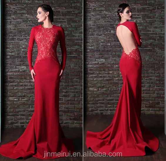 Vintage Red Mermaid/Trumpet Sheer Lace Open Back long Sleeve Floor length Fishtail Evening Dresses Special Occasion Dresses