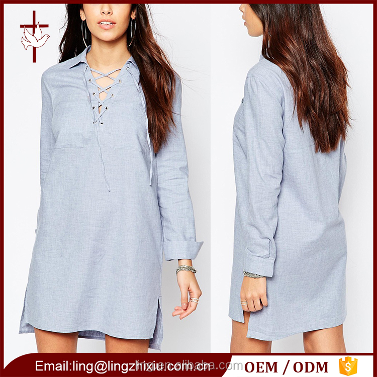 Relaxed Clothes Women Linen Looking Long SLeeve Dress