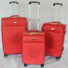 Red Yellow Light Blue Three Different Colors PU Luggage Trolley Case