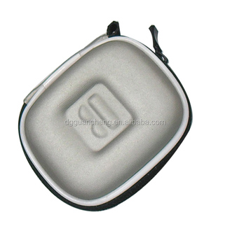 GC--Supply Blue pu cover jersey lining embossed logo cute earphone eva box