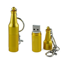 Gadget Wine/Beer Bottle Shape USB Flash Memory Metal Usb stick with Key Chain 256MB 512MB 1GB