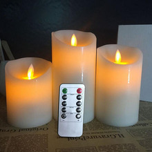 Set of 3 Ivory 10 Keys Remote Control flameless moving wick LED candle
