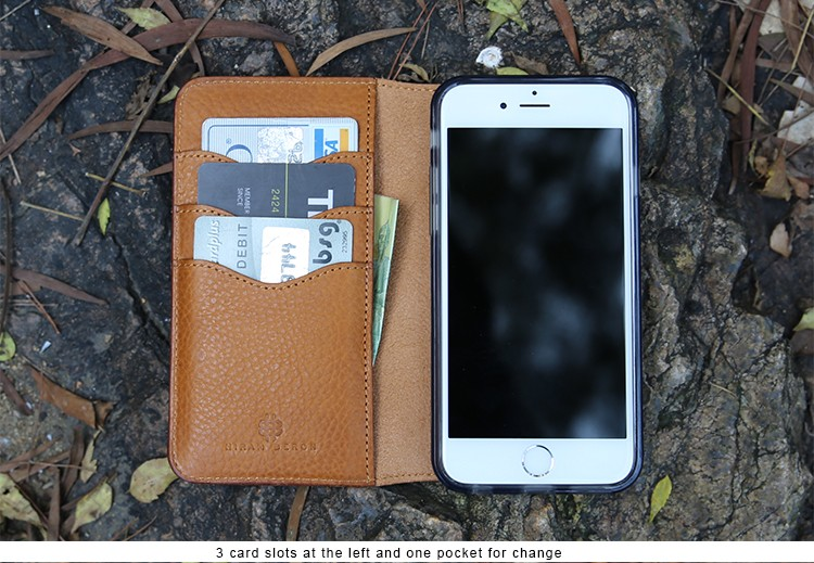 High quality Italian vegetable tanned leather wallet for iphone 6 case