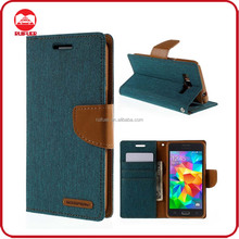 Factory Wholesale Woven PU Leather Diary MERCURY Canvas Wallet Flip Case for Samsung Galaxy Grand Prime SM-G530H