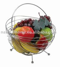 Fruit basket with banana holder for decoration cheap metal wire chrome fruit basket